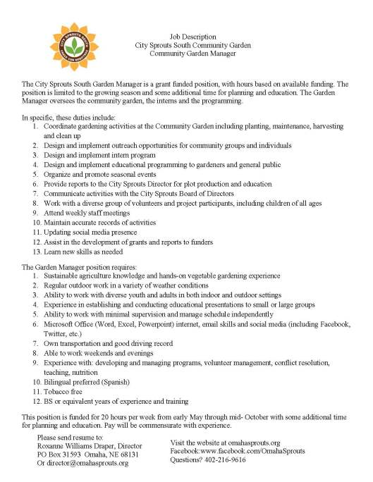 Garden Manager CCS Position Description FINAL